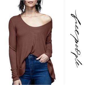 FREE PEOPLE BROWN MALIBU LONG SLEEVE THERMAL